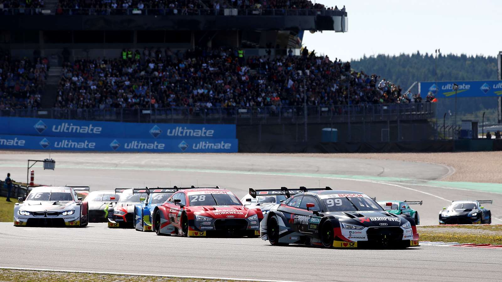 Audi and BMW race in the DTM at the Nürburgring