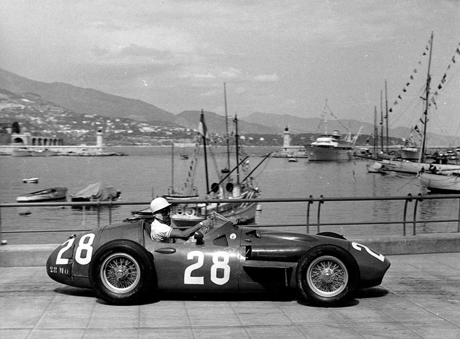 Stirling Moss in  his 250F at Monaco, 1956