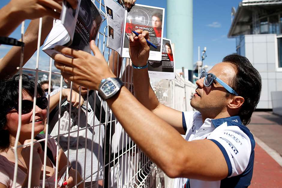 Monte Carlo, Monaco. Friday 22 May 2015. Felipe Massa, Williams F1, signs autographs for fans. Photo: Glenn Dunbar/Williams ref: Digital Image _89P9394