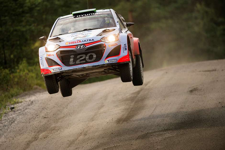 Hayden Paddon performs at FIA World Rally Championship 2015 Finland in Jyvaskyla on July 30, 2015 // Jaanus Ree/Red Bull Content Pool // P-20150730-00194 // Usage for editorial use only // Please go to www.redbullcontentpool.com for further information. //