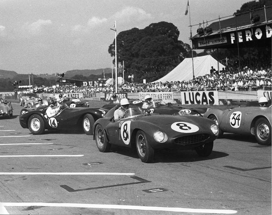Le Mans-type start of the 1955 Goodwood 9-Hours