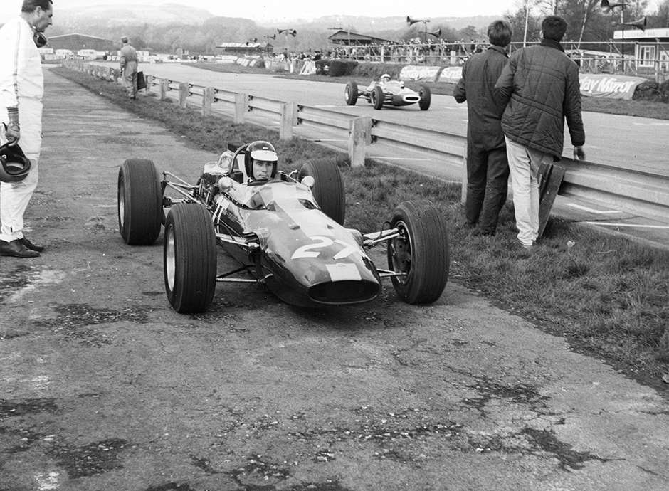 Jim Clark - Jack Brabham - during practice for the 1966 Easter Monday Goodwood Formula 2 feature race