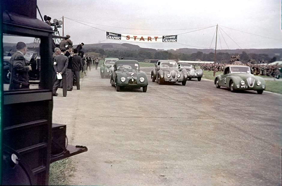 First race - first race meeting - September 1948 - the Closed sports car race - the winning Pycroft-Jaguar SS100 is 2nd from right