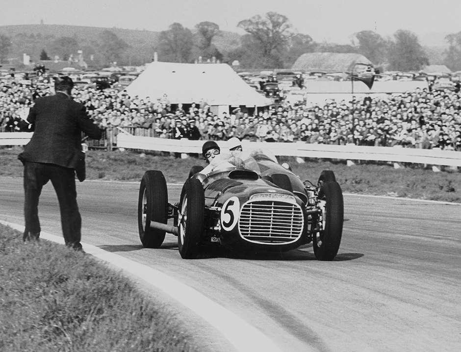 1954 Easter Monday - Ken Wharton and Roy Salvadori do battle - V16 exhaust fluttering trouser legs...