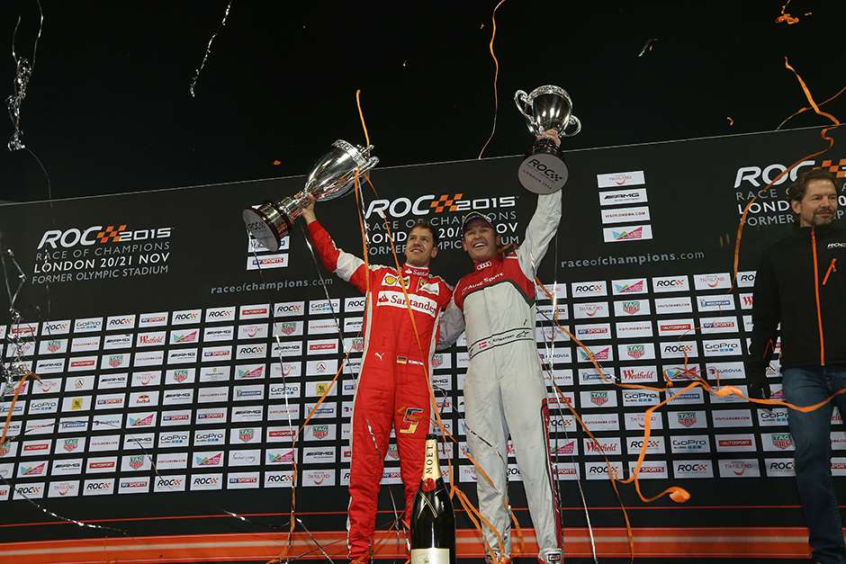 2015 Race Of Champions Olympic Stadium, London, UK Saturday 21 November 2015 Sebastian Vettel (GER) celebrates after winning the Race of Champions with Tom Kristensen (DMK) Copyright Free FOR EDITORIAL USE ONLY. Mandatory Credit: 'IMP'