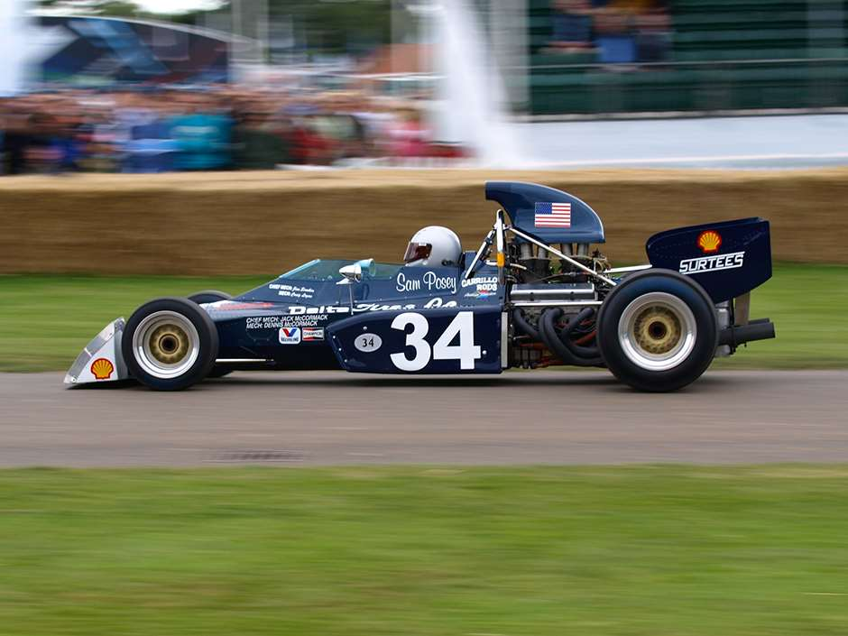 """Surtees TS9B Sam Posey` Goodwood 2008"" by Darren - originally posted to Flickr as DT123849. Licensed under CC BY 2.0 via Commons - https://commons.wikimedia.org/wiki/File:Surtees_TS9B_Sam_Posey%60_Goodwood_2008.jpg#/media/File:Surtees_TS9B_Sam_Posey%60_Goodwood_2008.jpg"