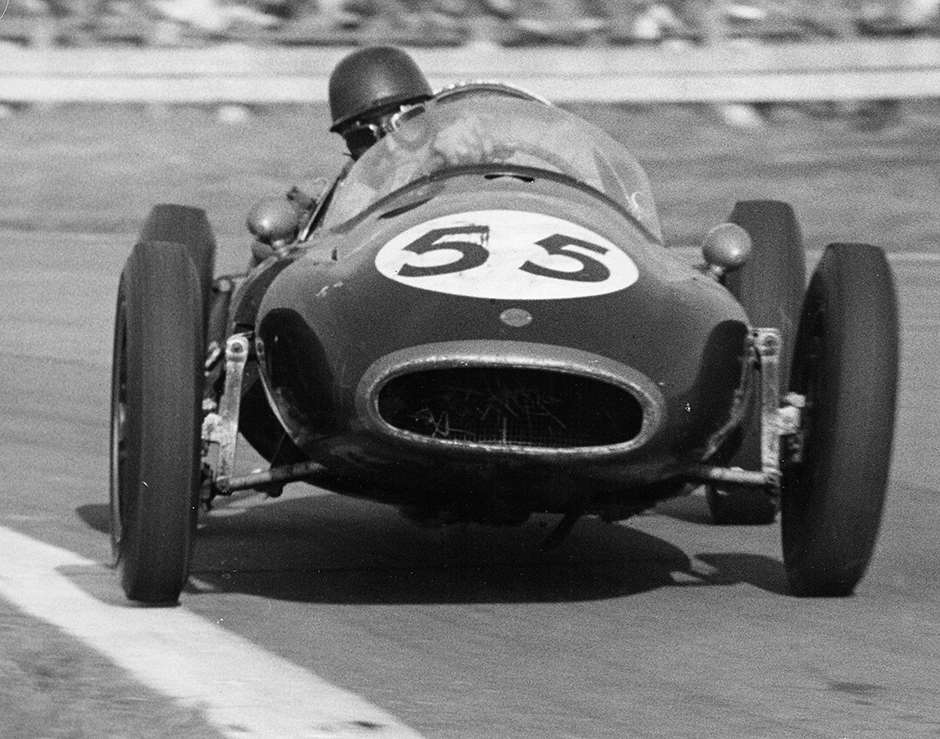1957 Goodwood - even more extreme  'Black Jack'  cornering in works F2 Cooper-Climax