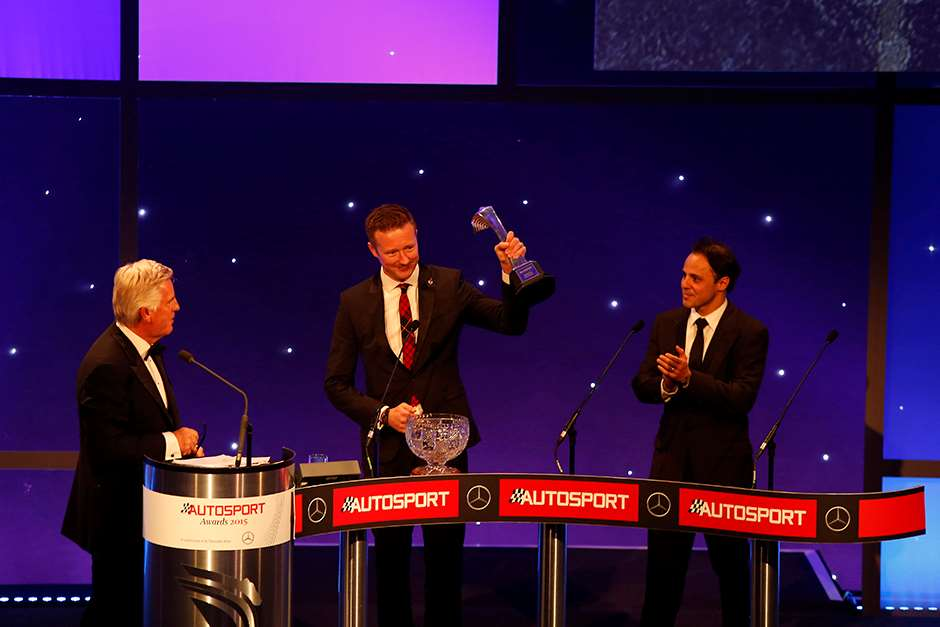 2015 Autosport Awards. Grosvenor House Hotel, Park Lane, London. Sunday 6 December 2015. National Driver, Gordon Shedden. World Copyright: Sam Bloxham/LAT Photographic. ref: Digital Image _L0U5770