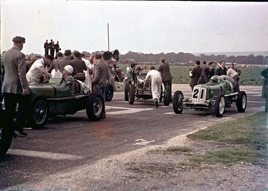 ERAs forming up on the first Goodwood starting grid - opening meeting, 1948
