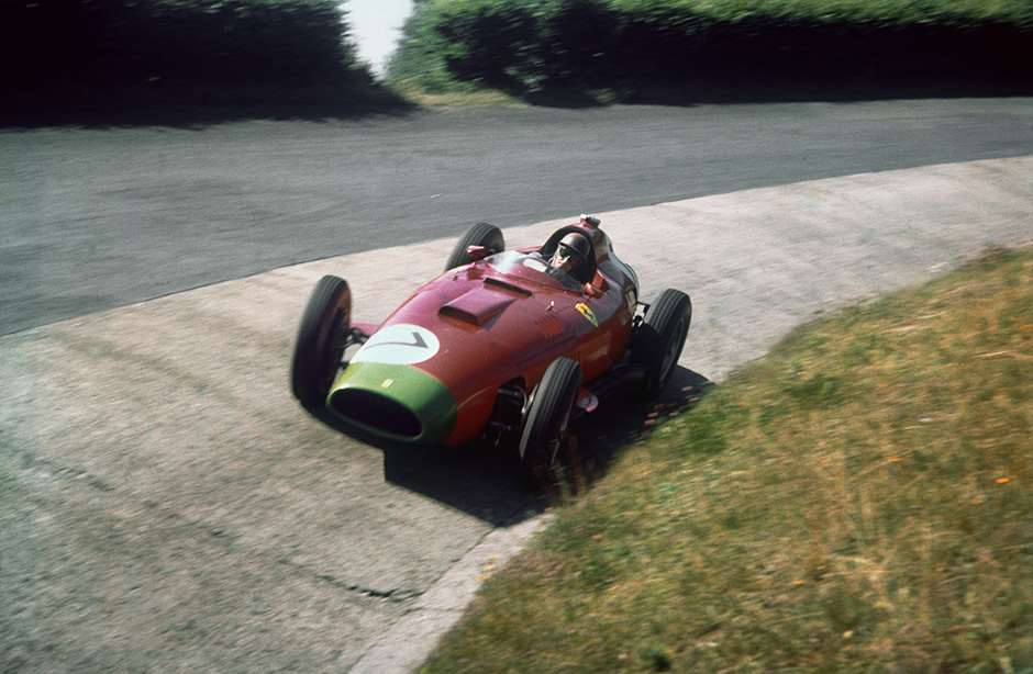 Nurburgring, Germany. 2-4 August 1957. Peter Collins, Lancia-Ferrari D50 801, 3rd position. Ref: 57GER13. World Copyright - LAT Photographic