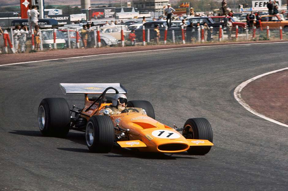 1970 Spanish Grand Prix. Jarama, Spain. 17-19th April 1970. Bruce McLaren, McLaren M14A Ford, 2nd position. Ref: 70ESP03. World Copyright: LAT Photographic