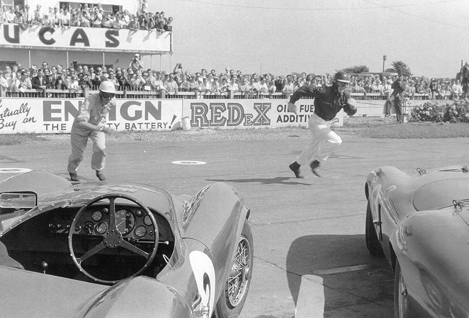 1955 Goodwood 9-Hours start - great friends Peter Collins (lft) and Mike Hawthorn sprint for their cars