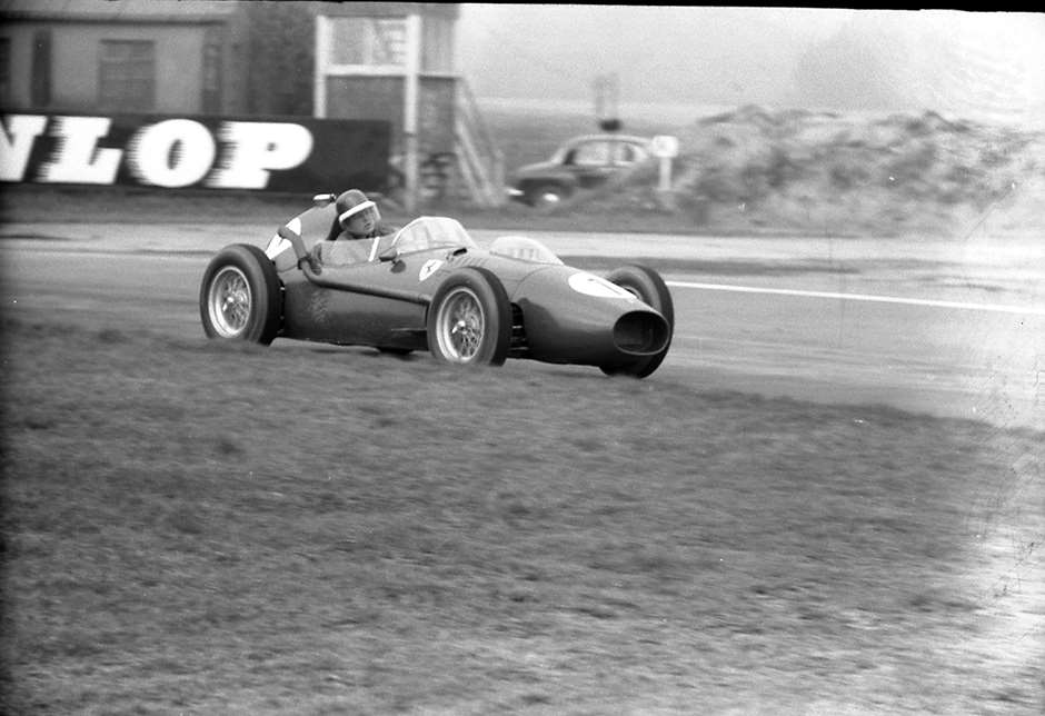 Mike Hawthorn winning the Glover Trophy Easter Monday 1958 early in his Champion Year