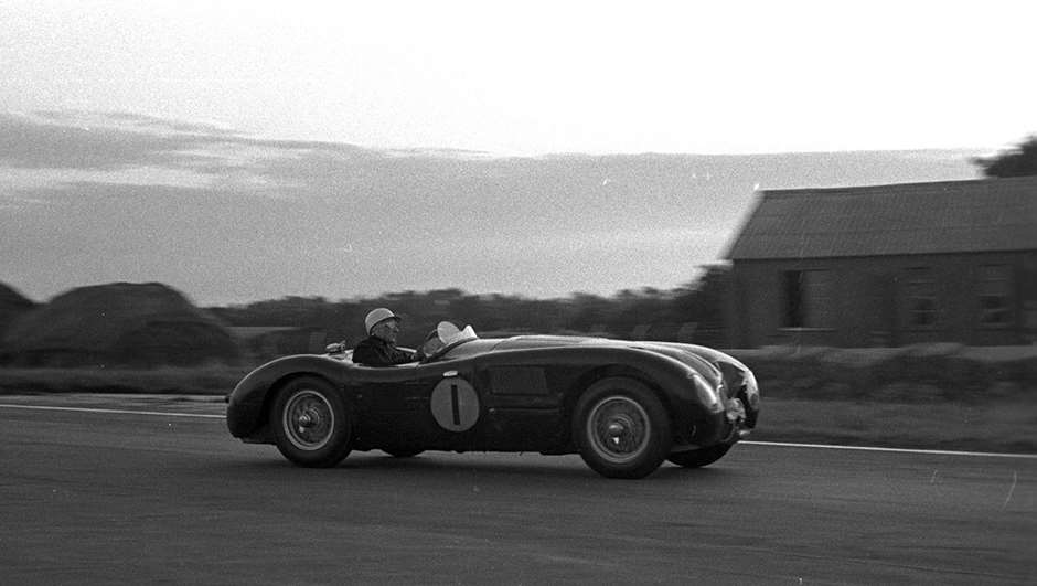 Moss Jaguar C-Type dusk at St Mary's...1953 Goodwood 9-Hours