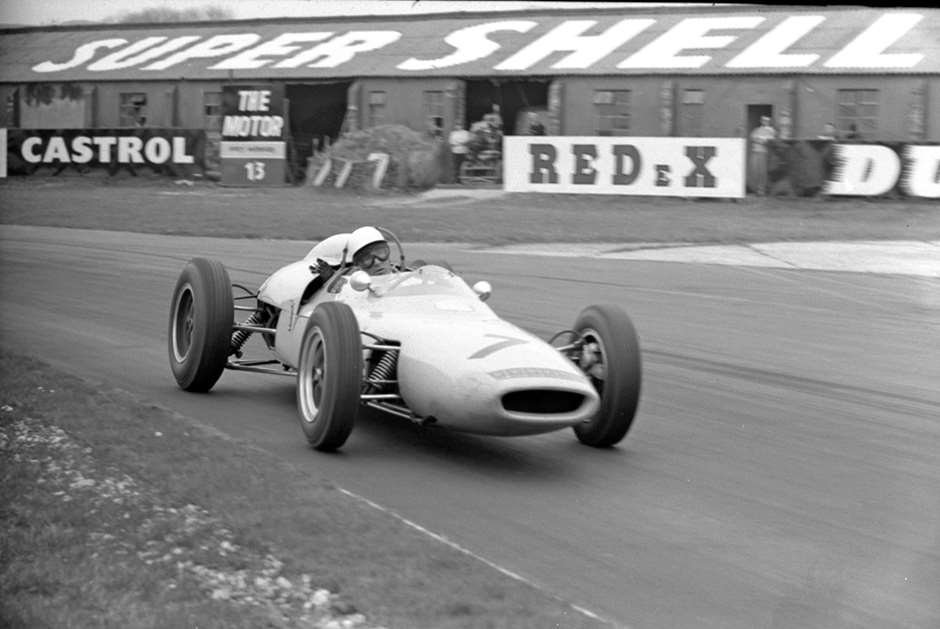 Stirling Moss in the Walker-owned, UDT-Laystall-entered Lotus-Climax 18/21 V8 special just before his career-ending crash, Easter Monday 1962