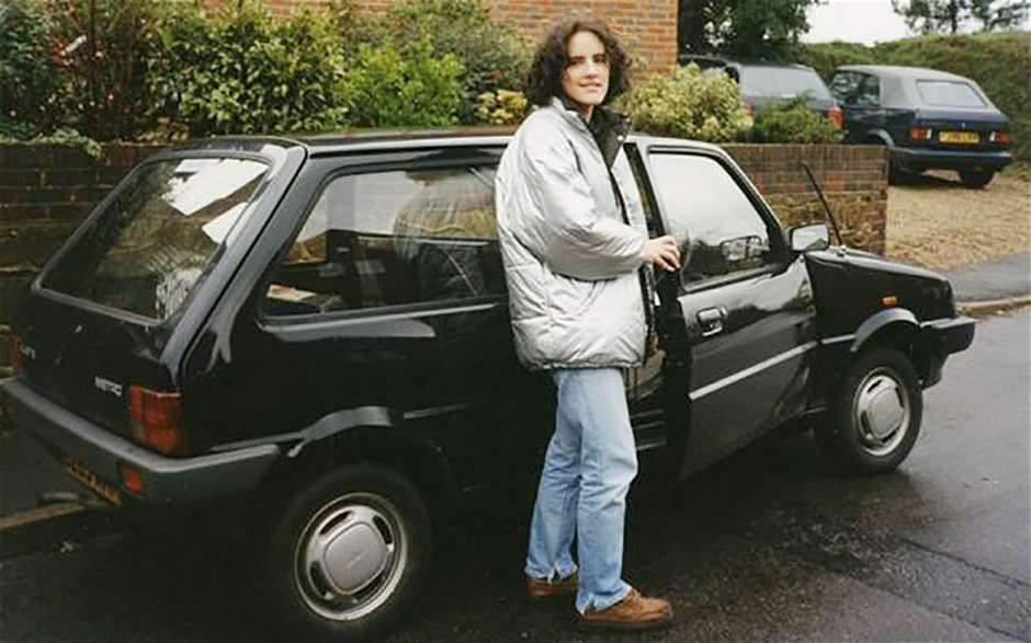 Erin Baker aged 17 with her first car a Mini Metro